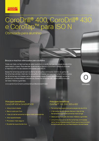 CoroDrill® 400, CoroDrill® 430 e CoroTap para ISO N