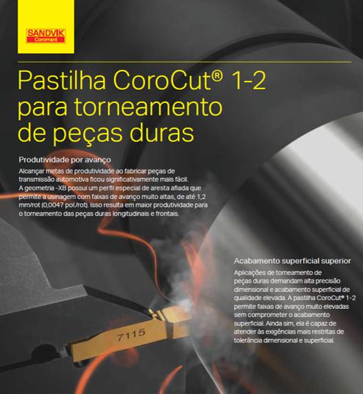 Pastilha CoroCut 1-2 Para Torneamento de peças duras